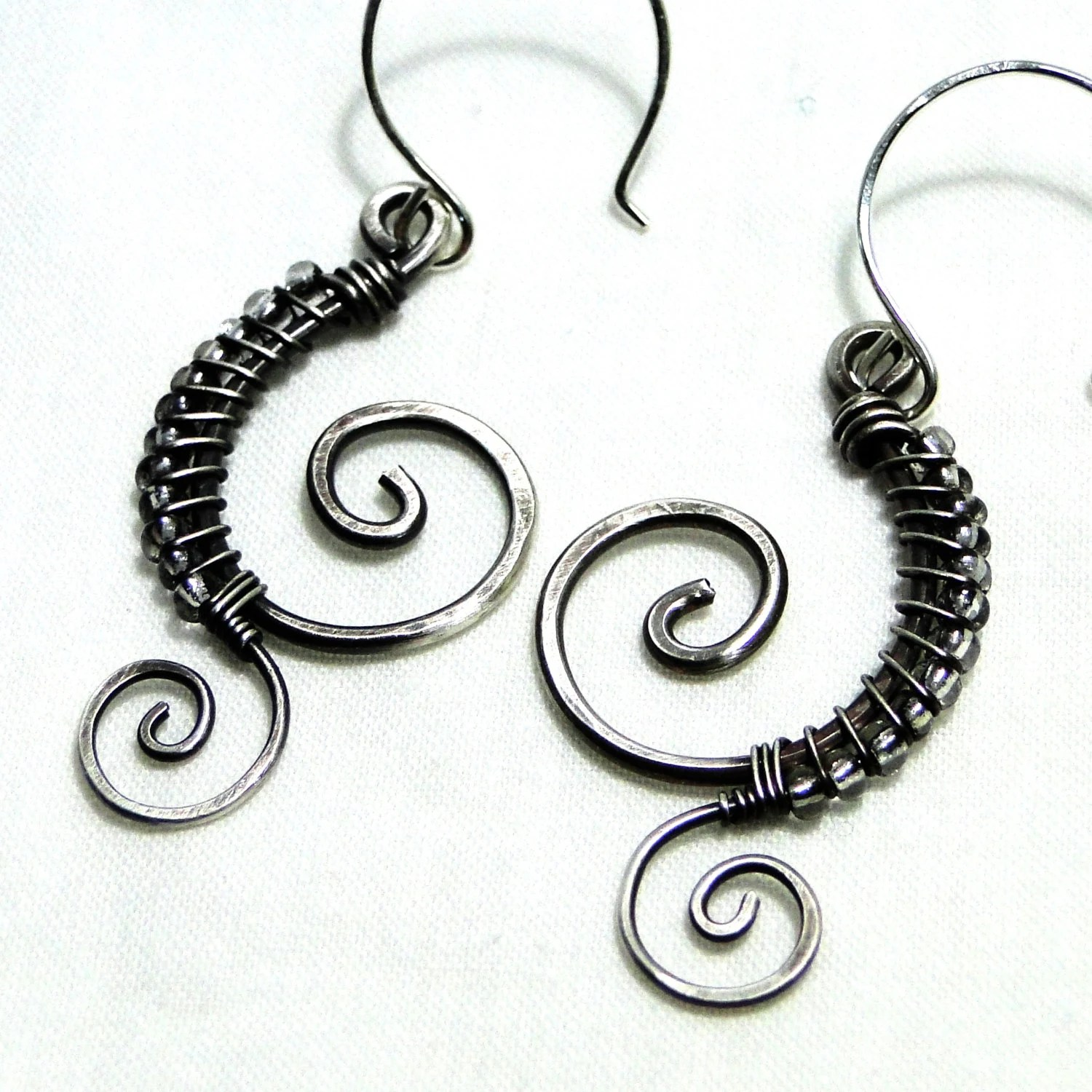 Wire Wrapped Sterling Silver Beaded Earrings Handcrafted
