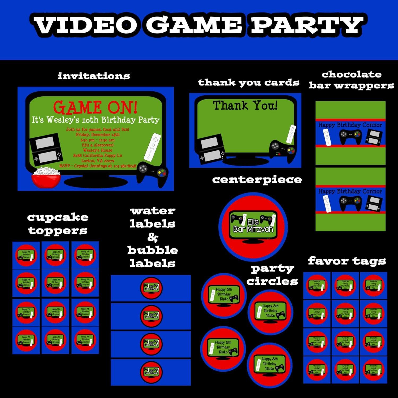 Video Game Birthday Invitation Printable Party Invite