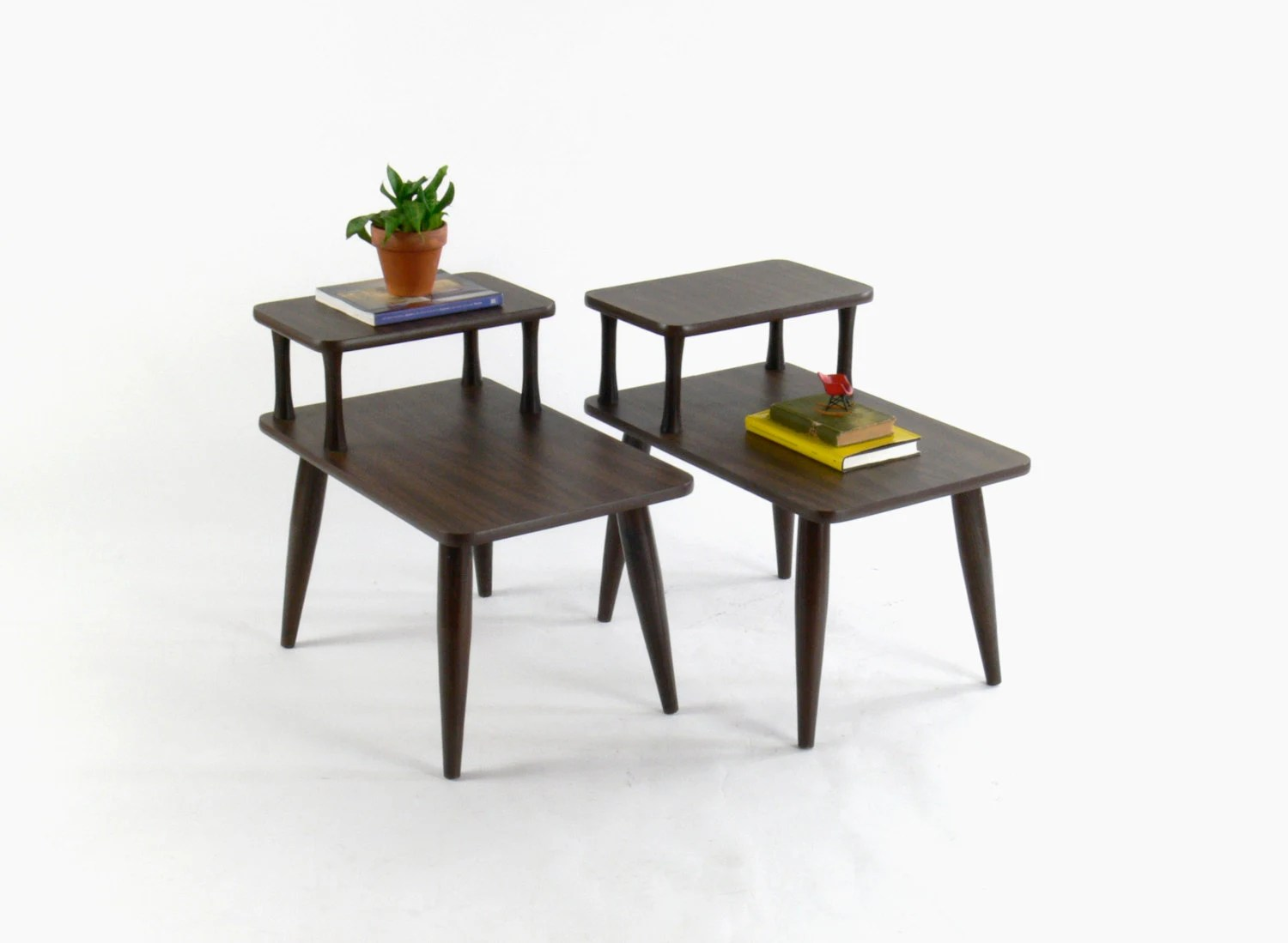 Mid Century Modern Two-Tier Side // End Tables Set Of 2