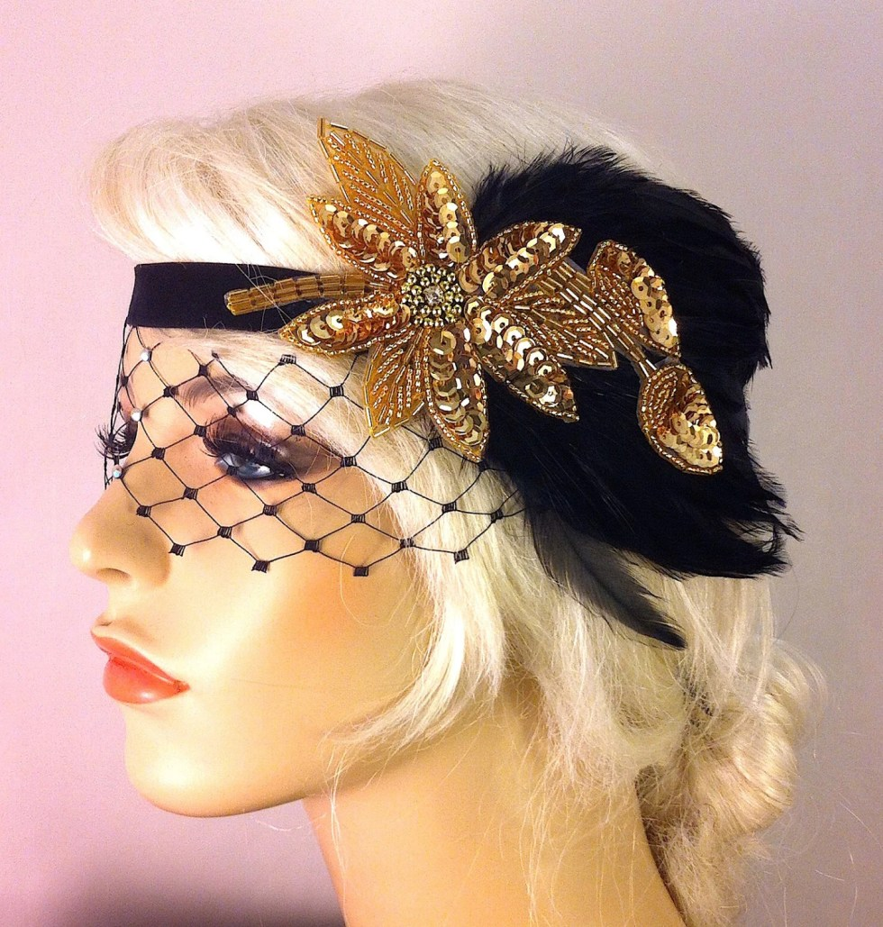 Great Gatsby Headband, Flapper Headband, Speakeasy, Headband, 1920s Head Piece, Art Deco Headband, Black and Gold, Soft  Velvet Ties