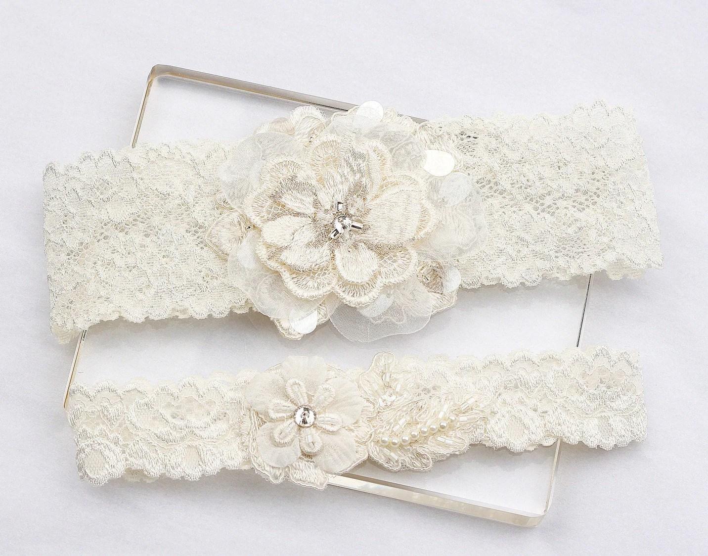 Ivory Lace Garter Set Wedding Bridal Garter Set By