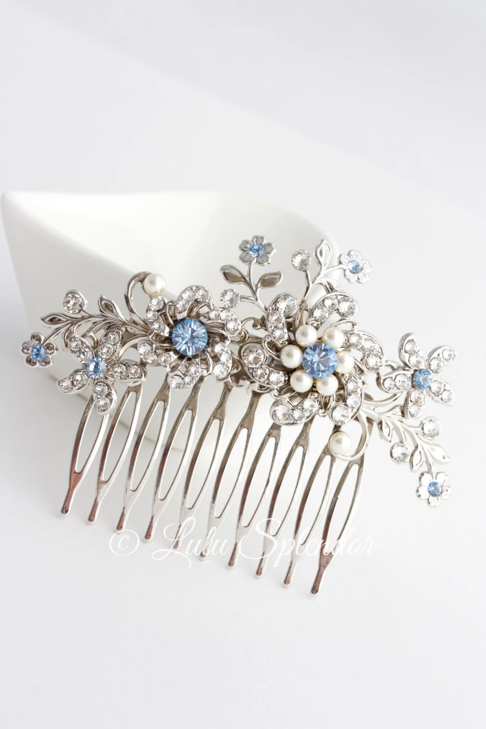 Wedding Hair Comb Light Sapphire Blue Bridal Hair Accessories