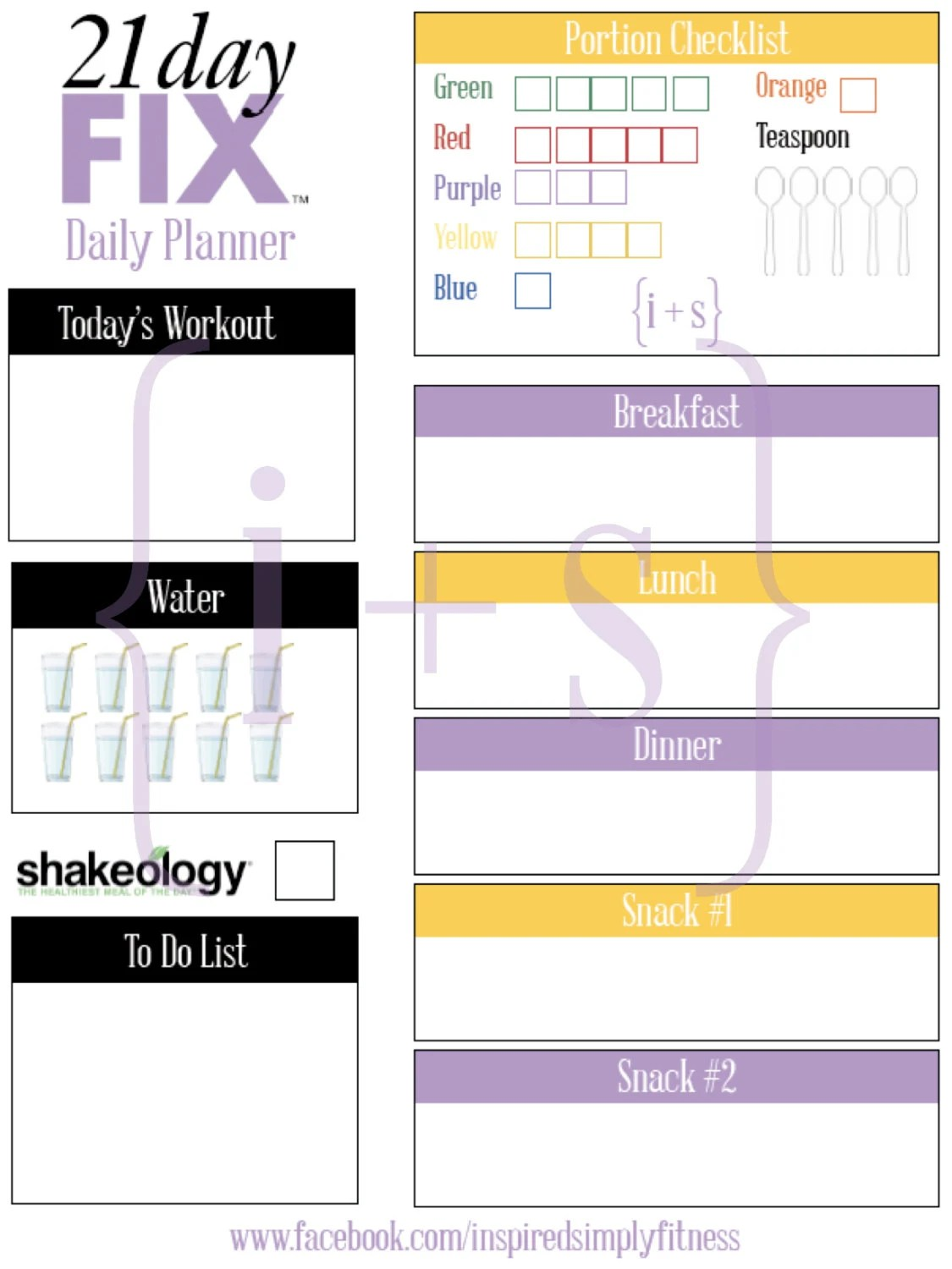 21 Day Fix Printable Meal Workout Planner By Inspiredsimply