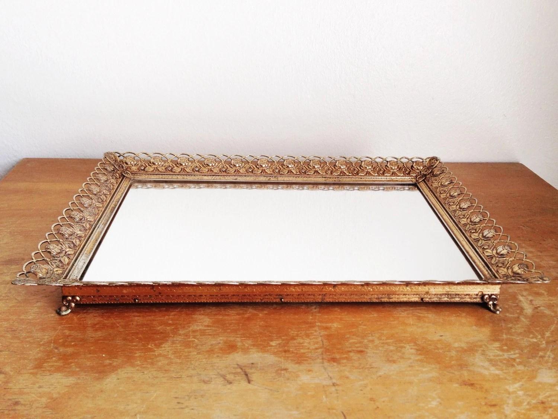 Vintage Gold Rose Vanity Mirror Tray Gold Metal Rose