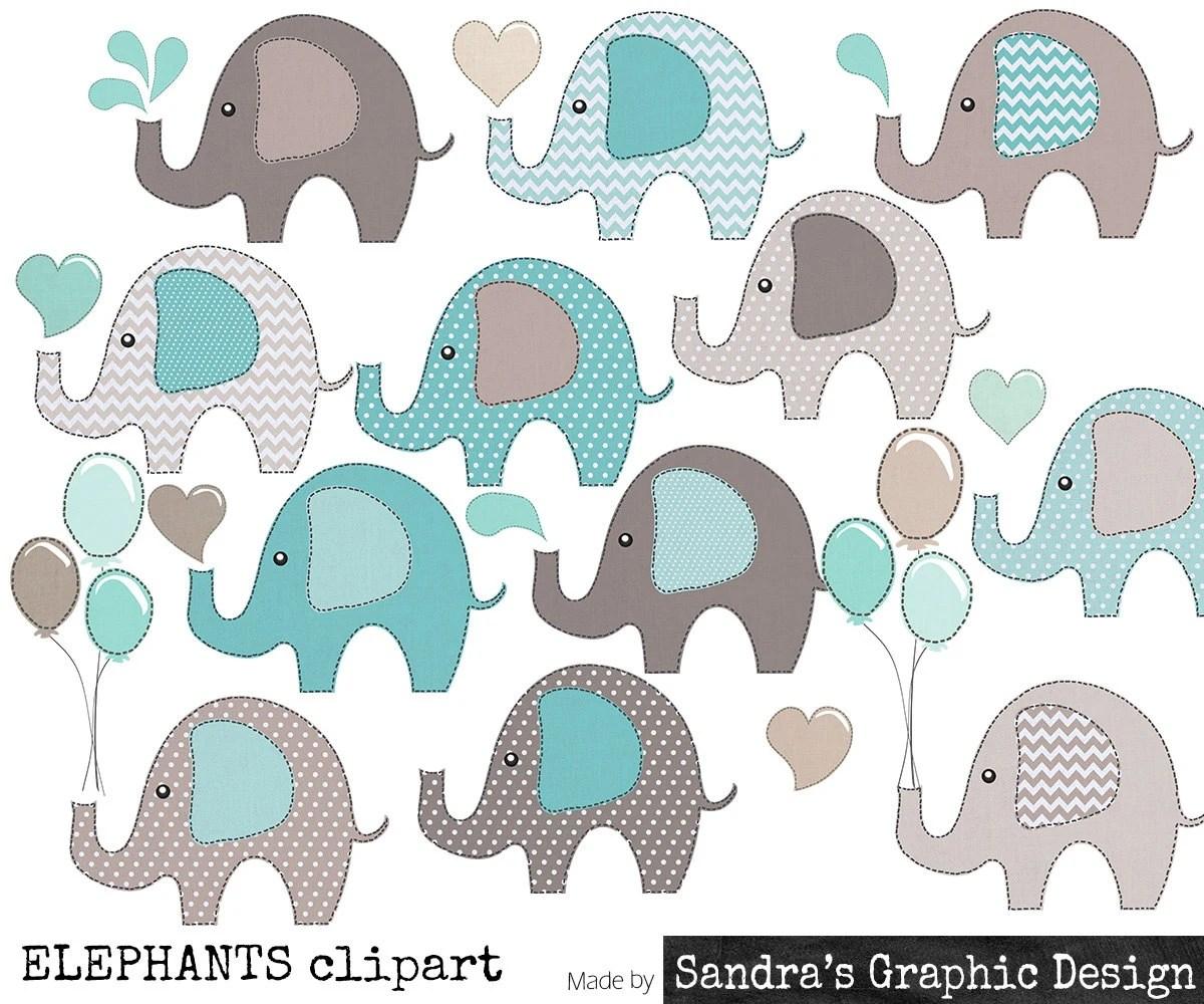 clip art elephants in blue