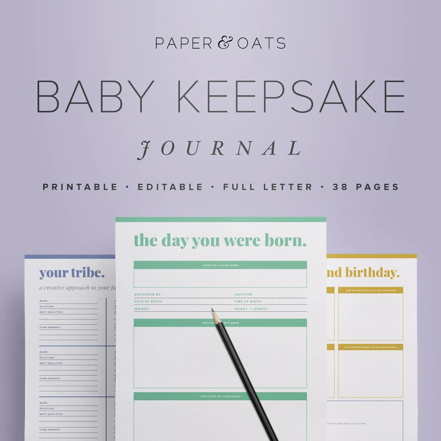 Baby Keepsake Journal Editable Digital Baby Book New Mom