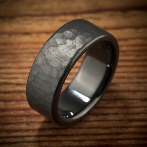 Mens Wedding Band Hammered Comfort Fit Interior Black