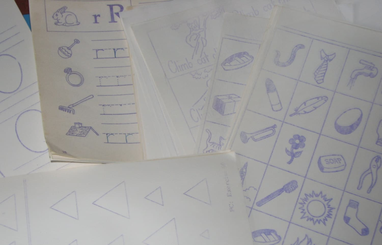 Dozen Mimeograph School Worksheets Circa S