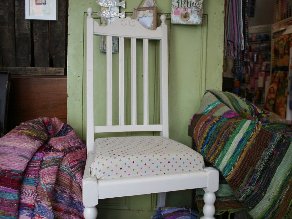 White Fabric Bedroom Chair: Shabby Chic White Wooden Chair, Spotty Fabric Seat