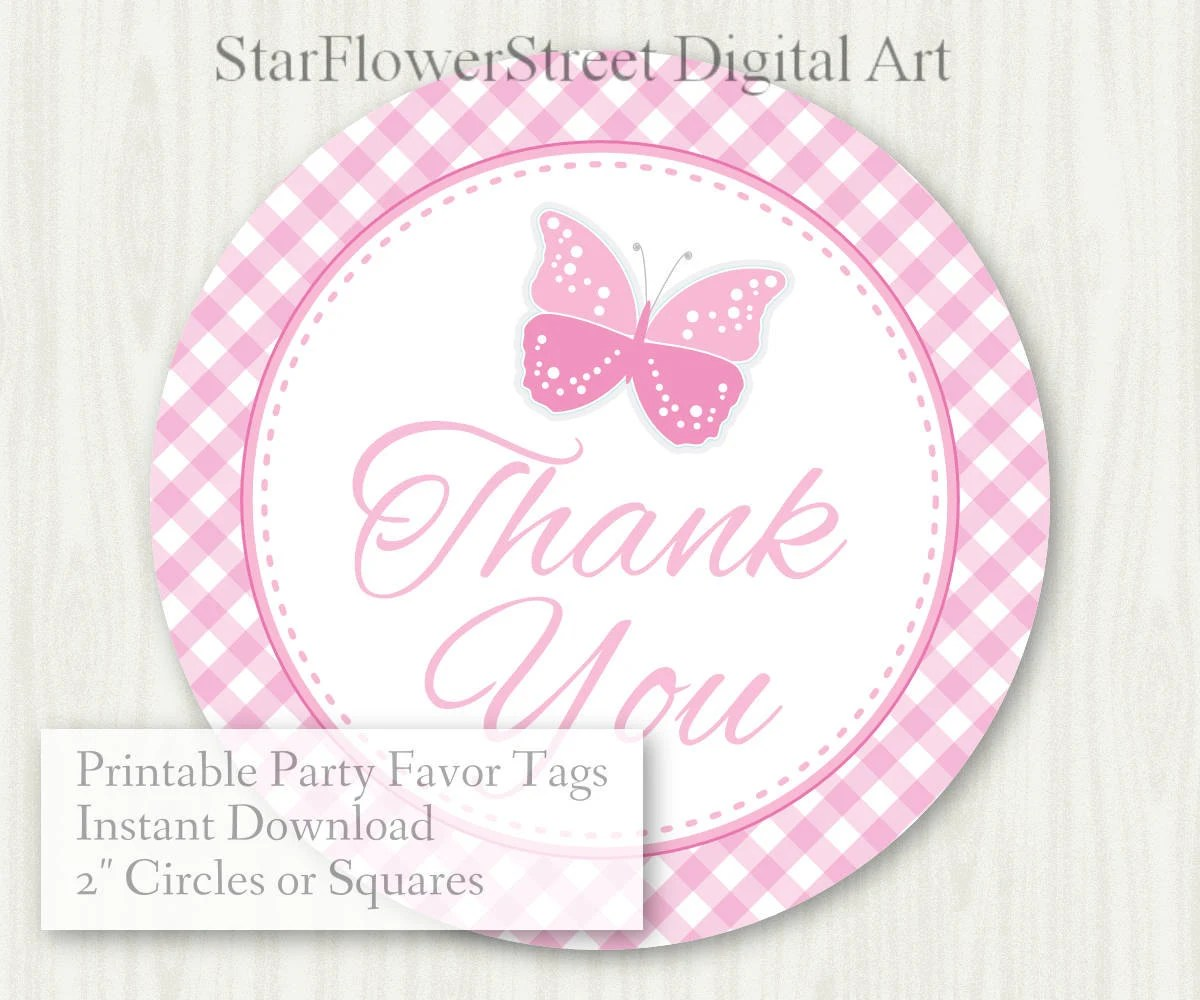 Butterfly Baby Shower Favor Tags Baby Girl Pink Thank You