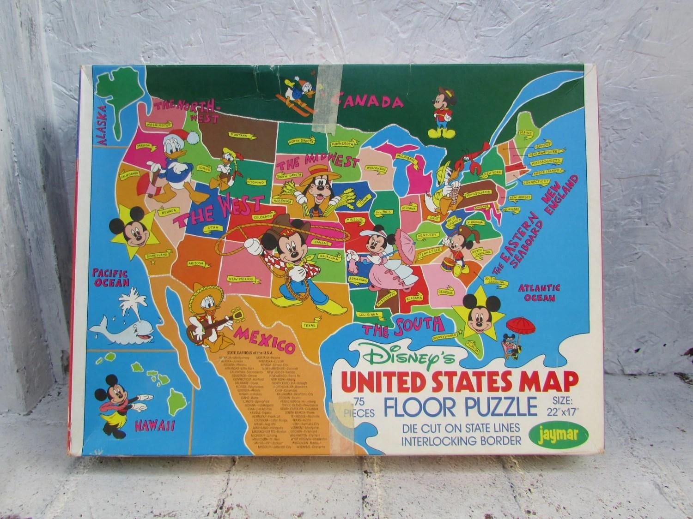 United States Map Floor Puzzle 75 Large Pieces Walt Disney