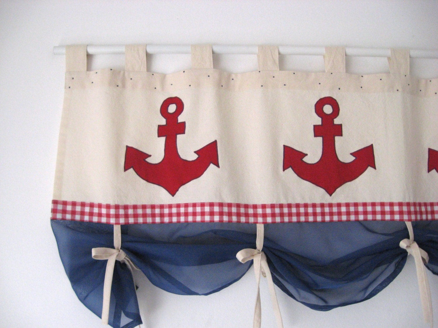 Anchor Curtains Valance Red Gingham Navy Blue Nautical Window