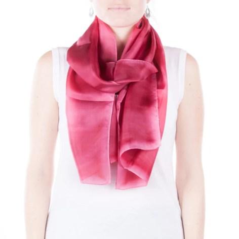 pink silk scarf /  Fuchsia scarf /  Hand dyed / 100% habotai silk