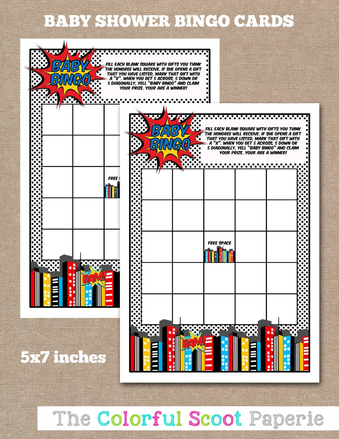 Baby Shower Bingo Game Printable Baby Shower By Thecolorfulscoot