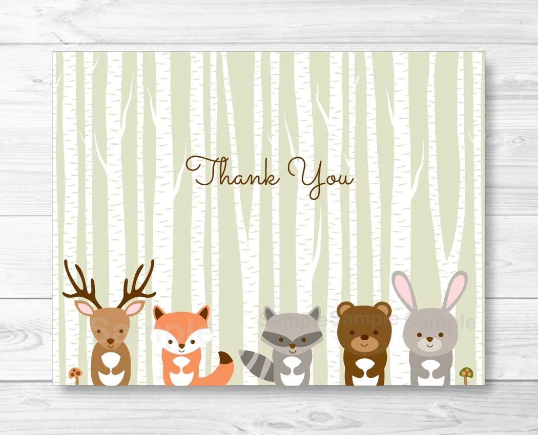 Woodland Forest Animals Folded Thank You Card Template Fox