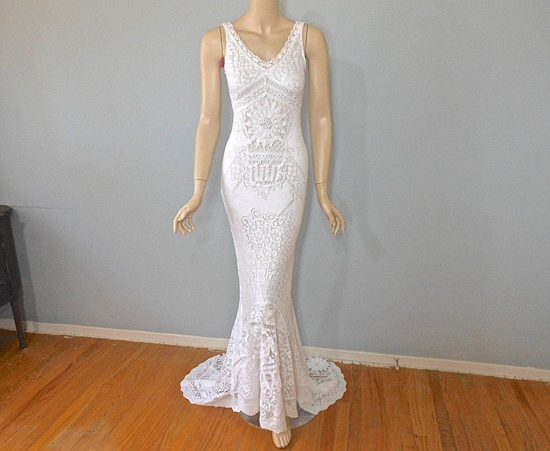 Mermaid Lace Wedding Gown Bohemian WEDDING Dress Vintage