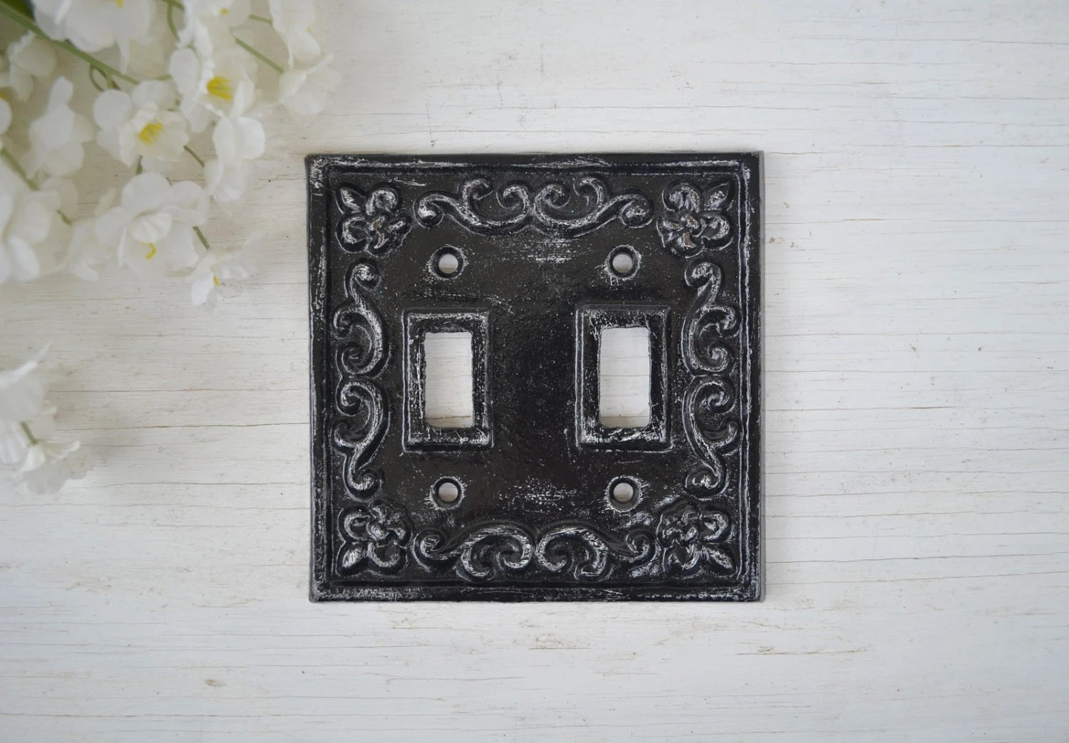 Cast Iron Toggle Double Switch Plate Cover Ornate Wall Decor