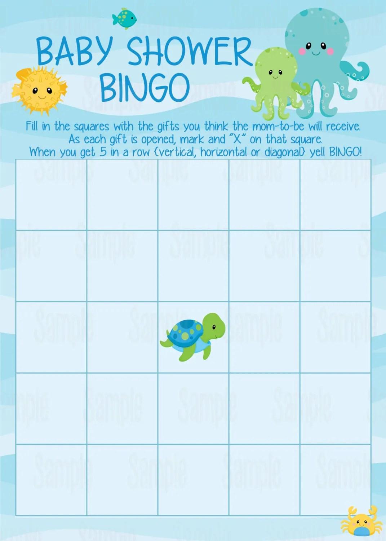 Instant Download Printable Under The Sea Baby Shower Bingo
