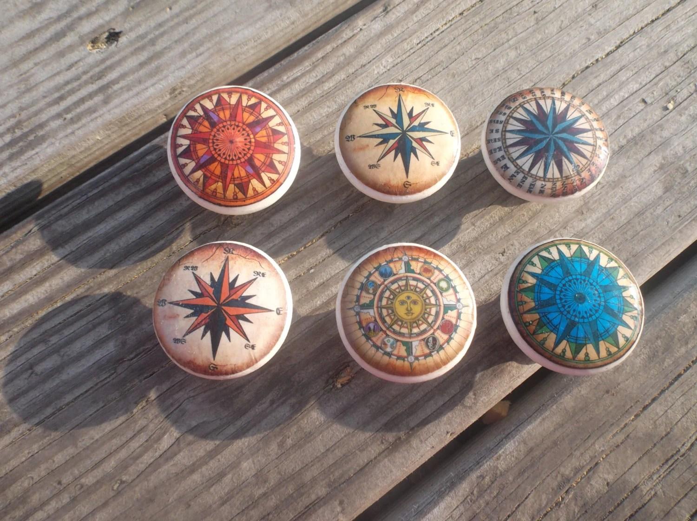 Compass Rose Print 1 5 Dresser Drawer Knob By Twistedrdesign