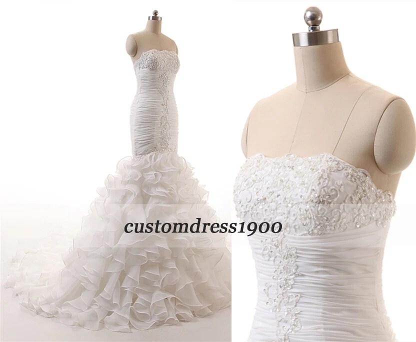 White/Ivory Exquisite Strapless Wedding Dresses By