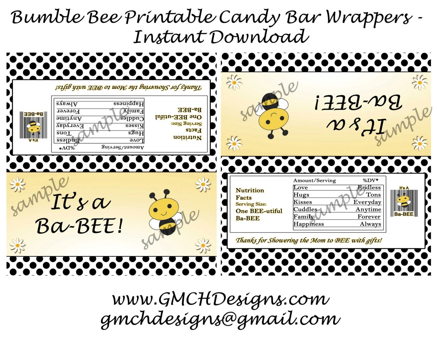 Bumble Bee Baby Shower Printable Candy Bar Wrappers For