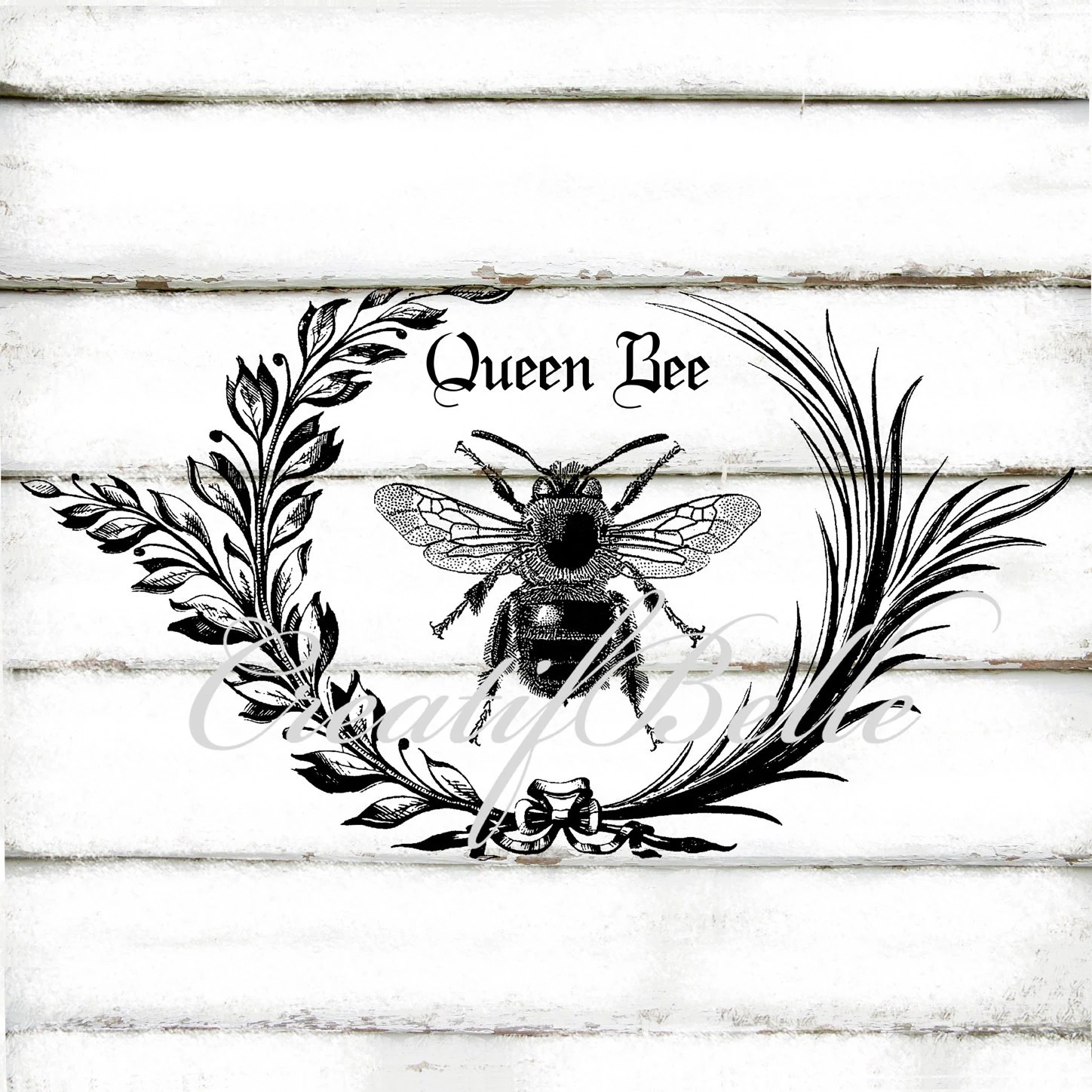 Vintage Black And White Wreath Queen Bee Large A4 By