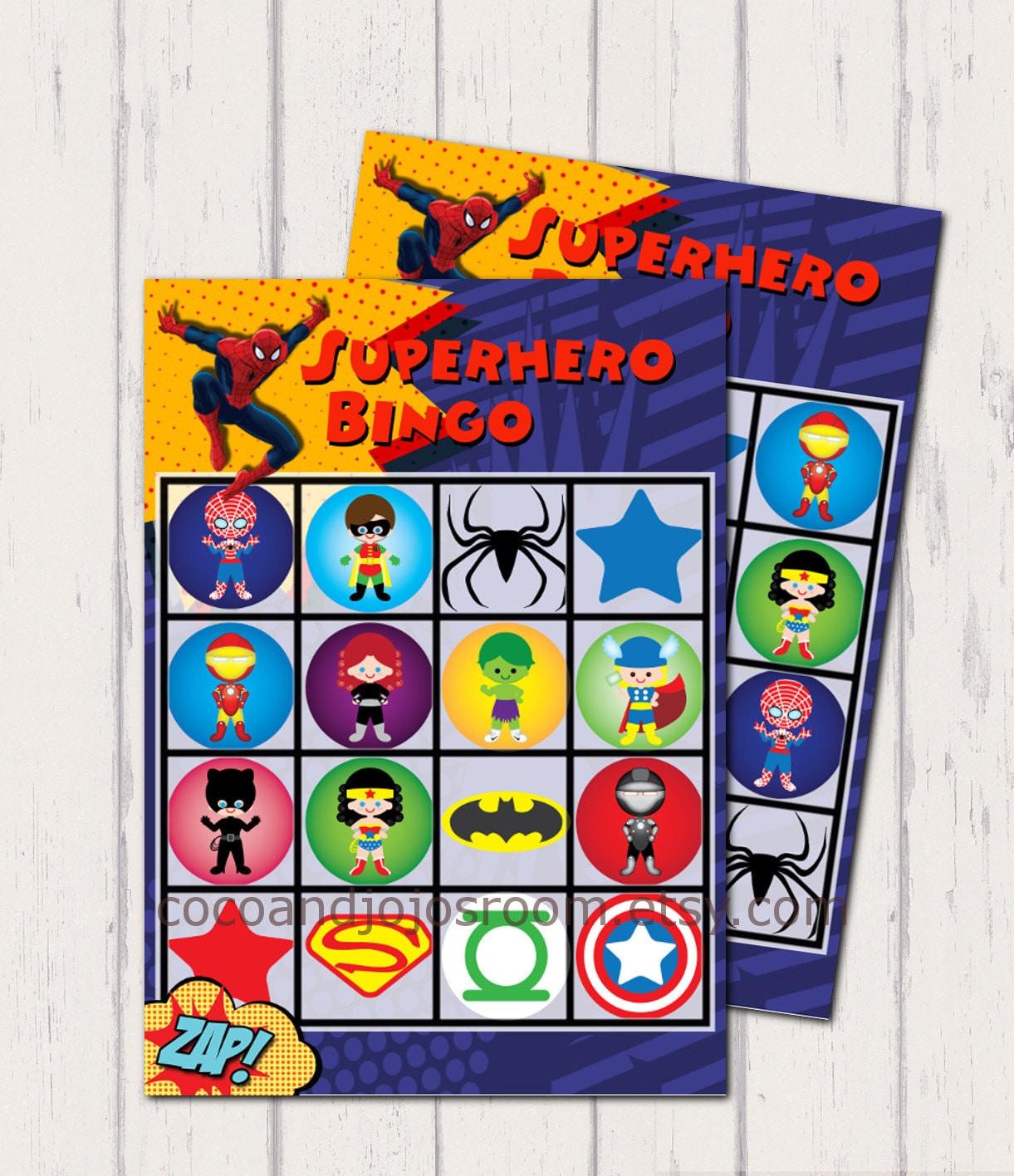 20 Superhero Bingo Cards Printable Instant By Cocoandjojosroom