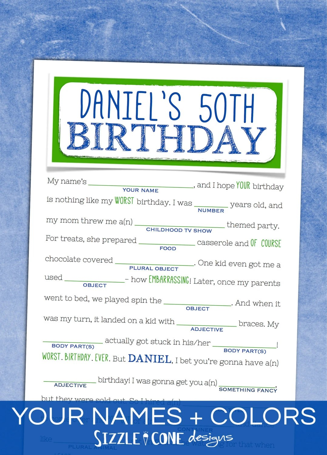 Adult Birthday Mad Libs Teens Too Printable By Sizzleconedesign