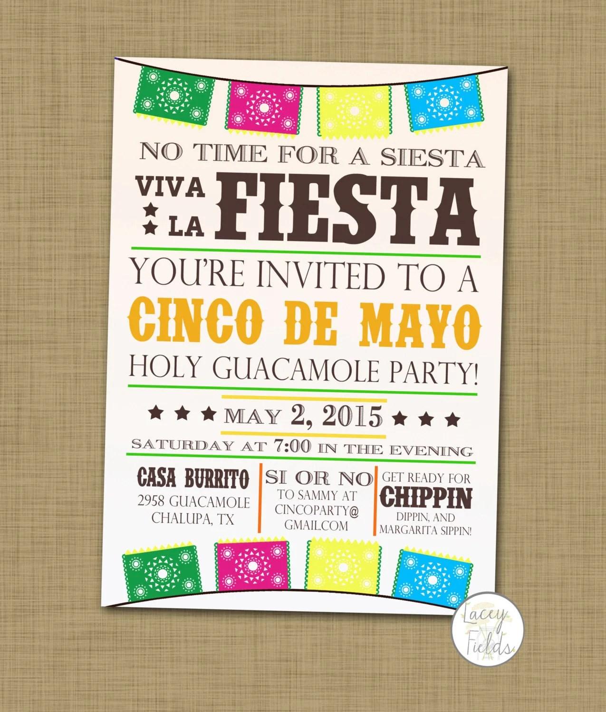 Cinco De Mayo Party Invitation Printable Cinco De By