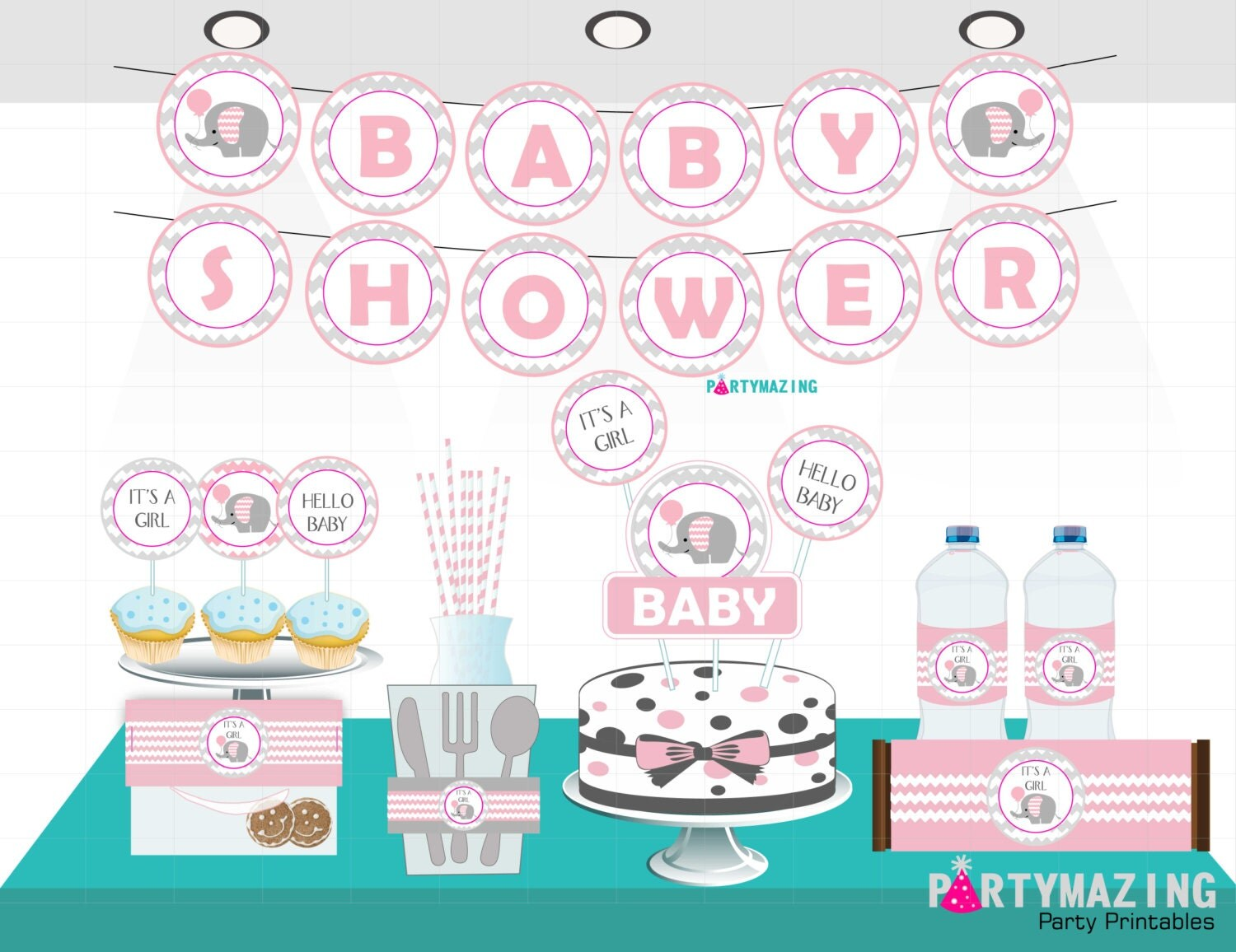 Pink Elephant Baby Shower Printables