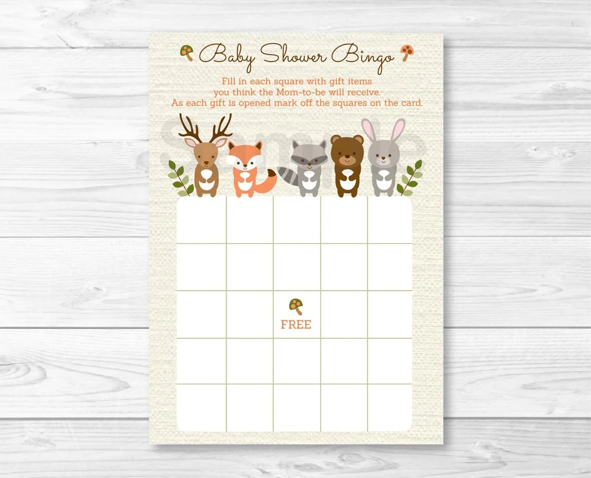 Woodland Forest Animal Baby Shower Bingo Cards Woodland Baby
