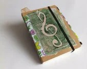 Unique notebook Sketchbook drawing book Pocket Diary blue green, gift for her, art book, flowers notepad music cover,blank notebook colorful