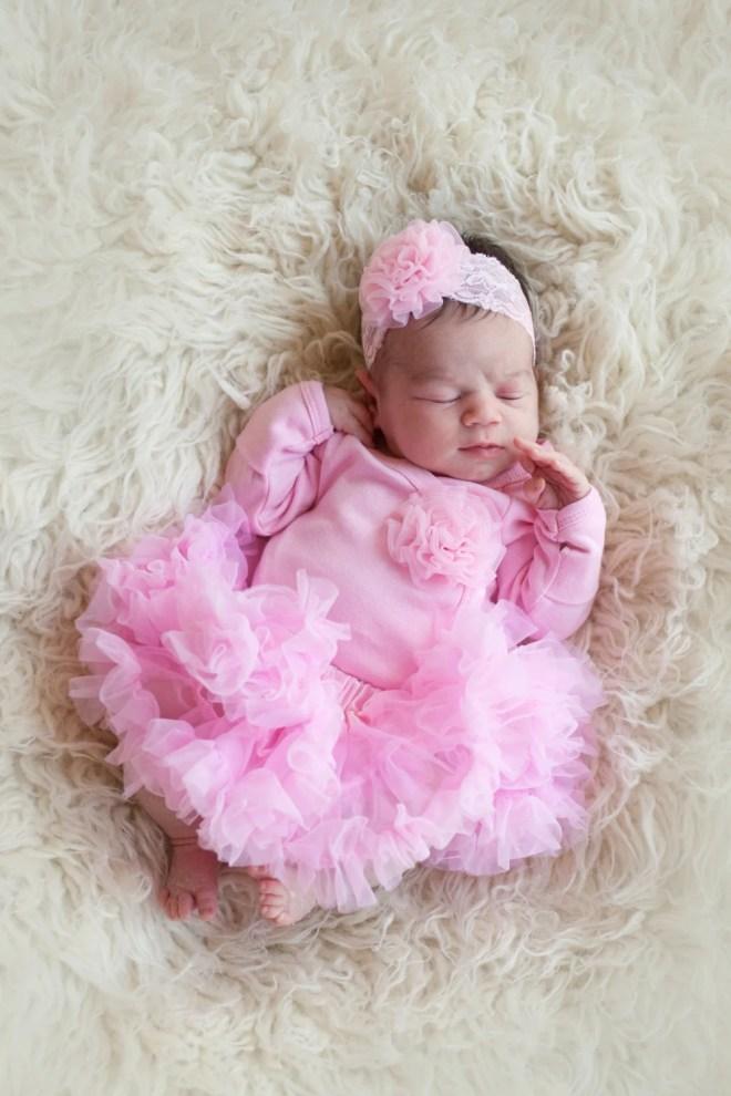 Newborn Girls Take Home Outfit Pink Bodysuit with Rosette Poof Headband and Pettiskirt