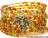 Golden Leaves Bracelet -  Memory Wire Bracelet, Coil Bracelet, Gold Bracelet, Boho Bracelet, Fall Bracelet, Autumn Bracelet, Gold Bracelet