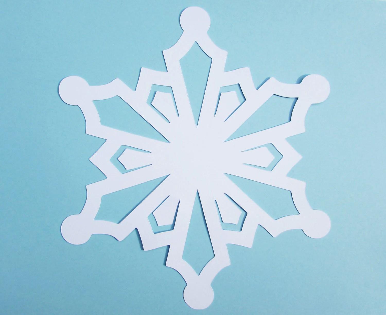 White Snowflake Paper Cuts 25 Snowflake Cutouts