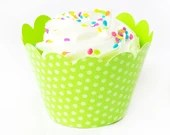 24 Green Polka Dot Cupcake Wrappers for Weddings, Engagement and Special Occassions