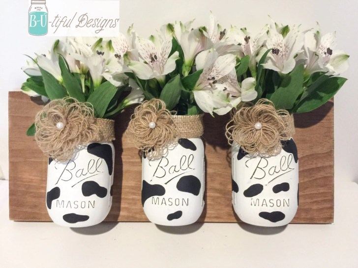 Cow Print Mason Jars Wall Kitchen Decor Butifuldesigns Etsy