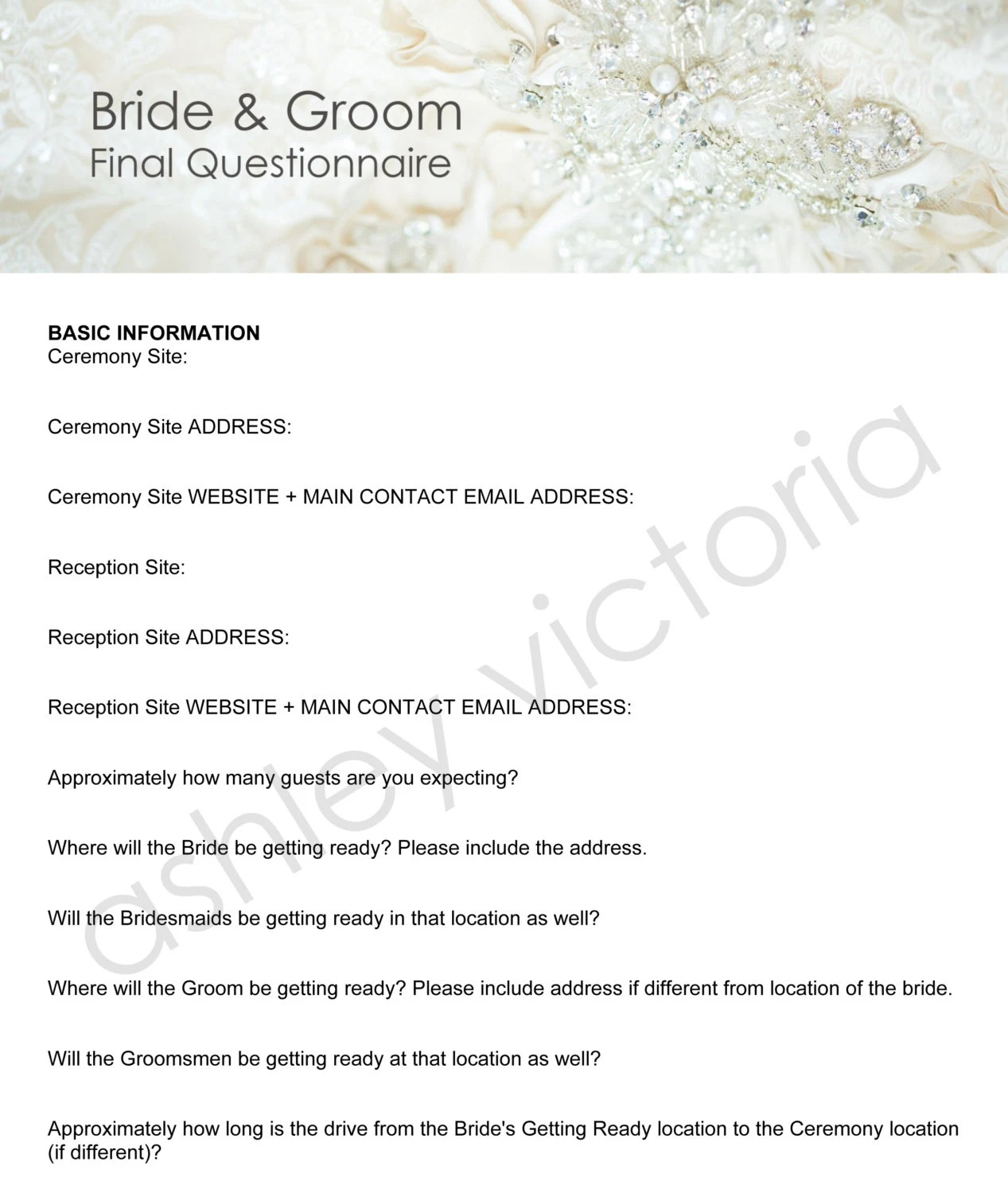 Bride Amp Groom Wedding Questionnaires For Photographers Set Of