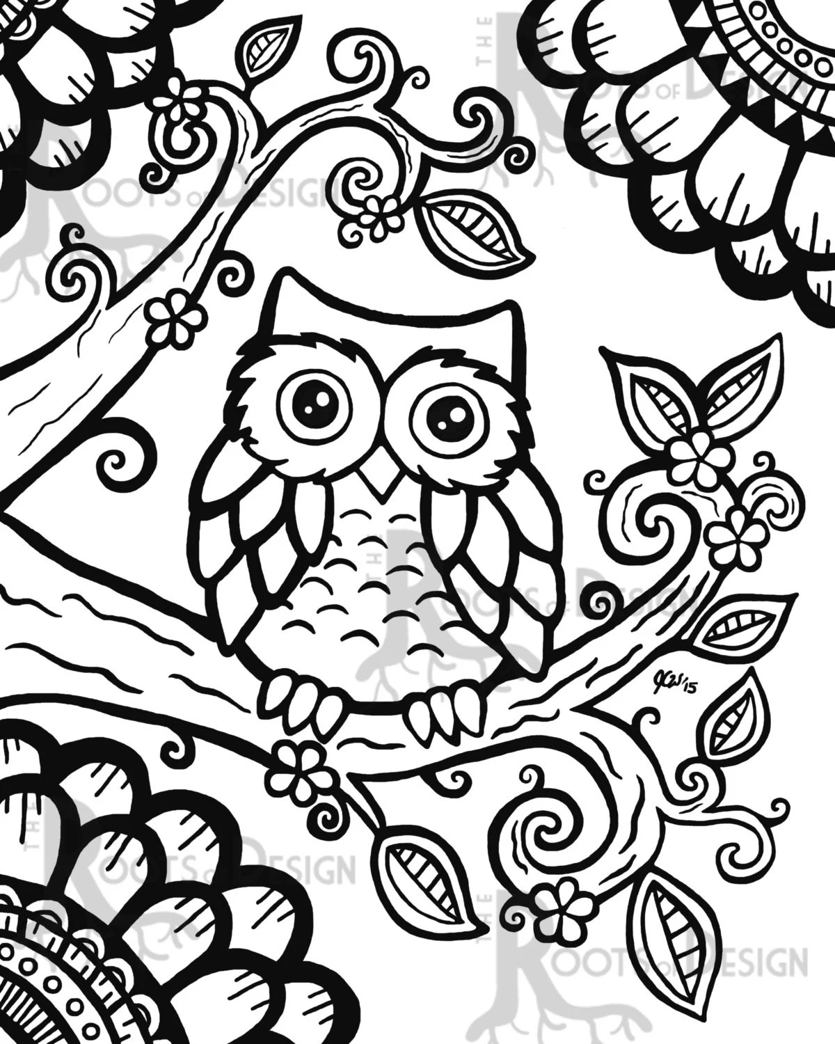 instant download coloring page cute owl zentangle inspired doodle