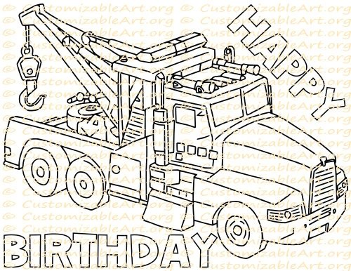 tow truck party favor printable truck birthday by customizableart
