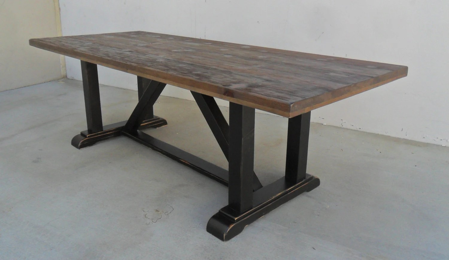 Dining Table Reclaimed Wood Trestle Table Rustic