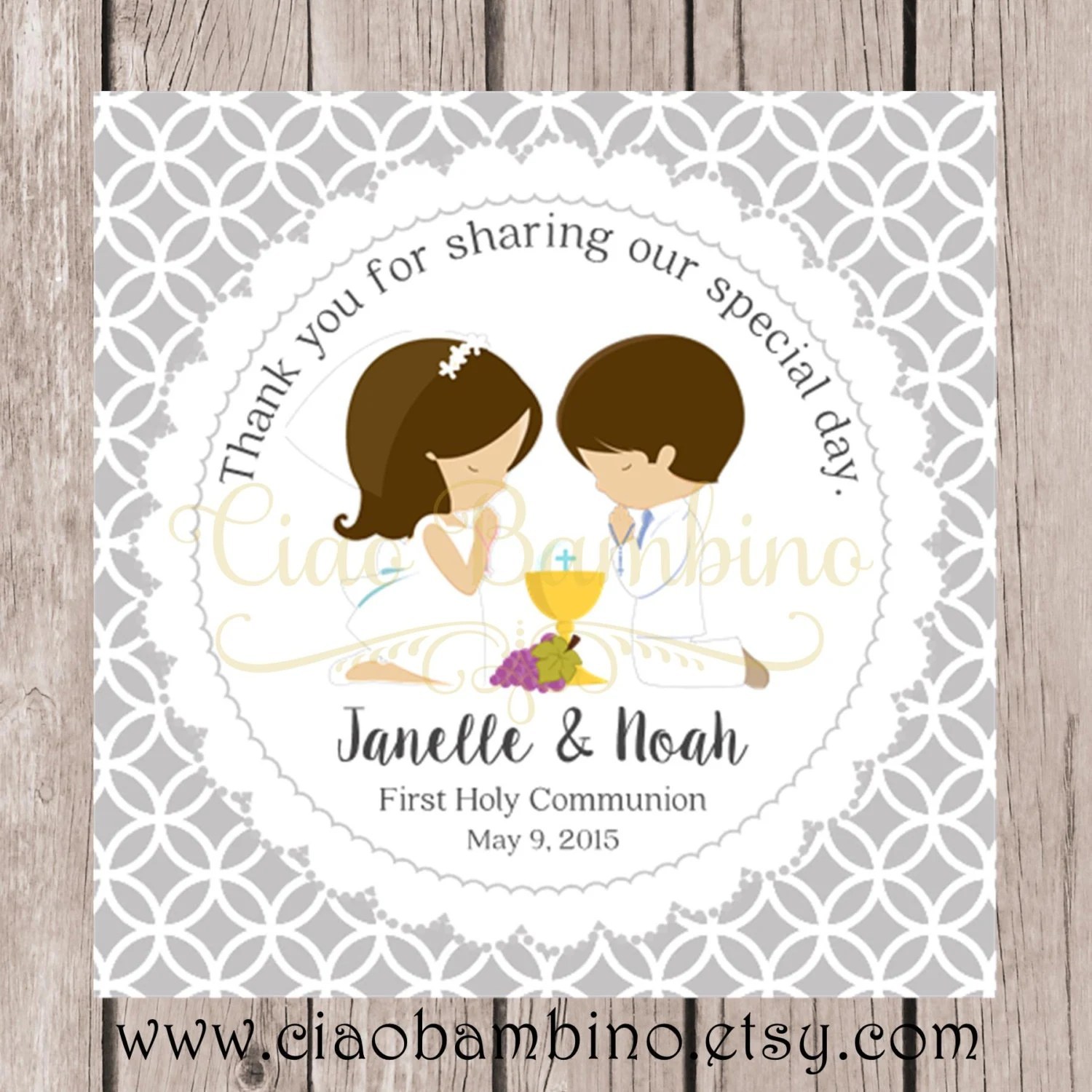 Printable First Holy Communion Favor Tags In Silver Gray