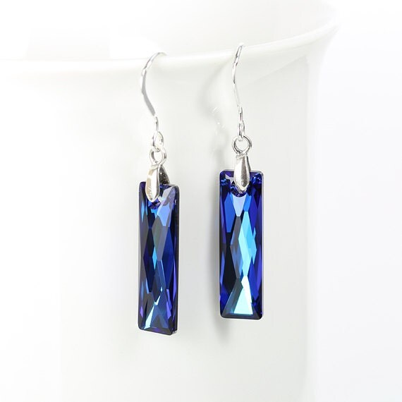 Blue green crystal earrings