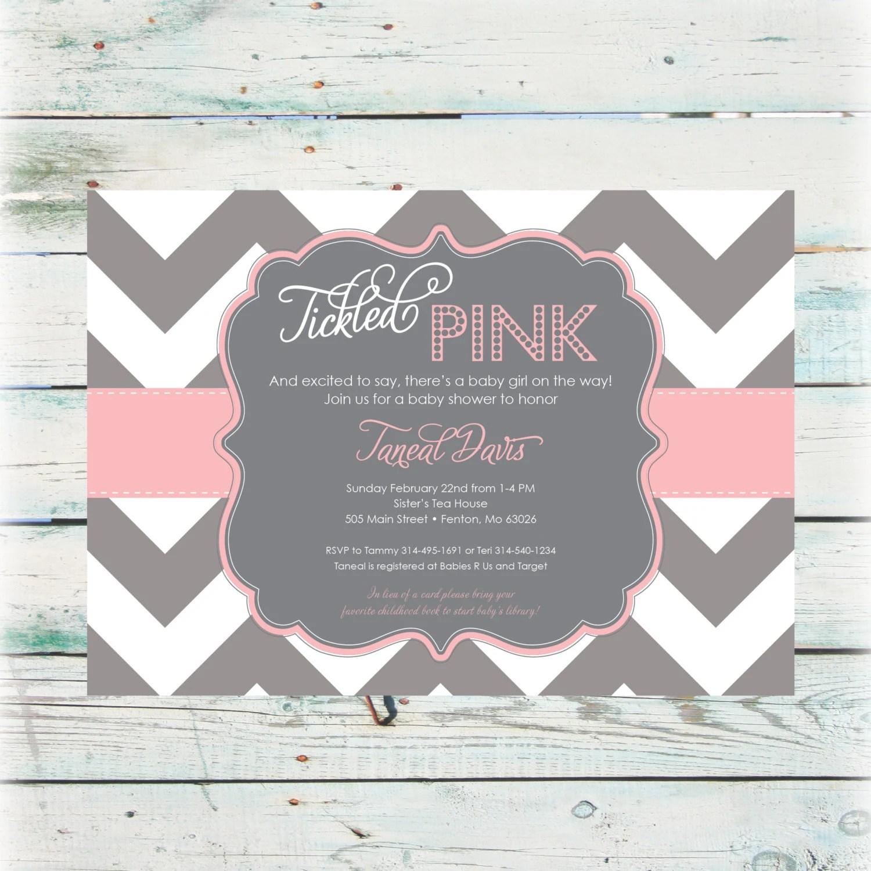 Printable Tickled Pink Baby Shower Invitation Digital File
