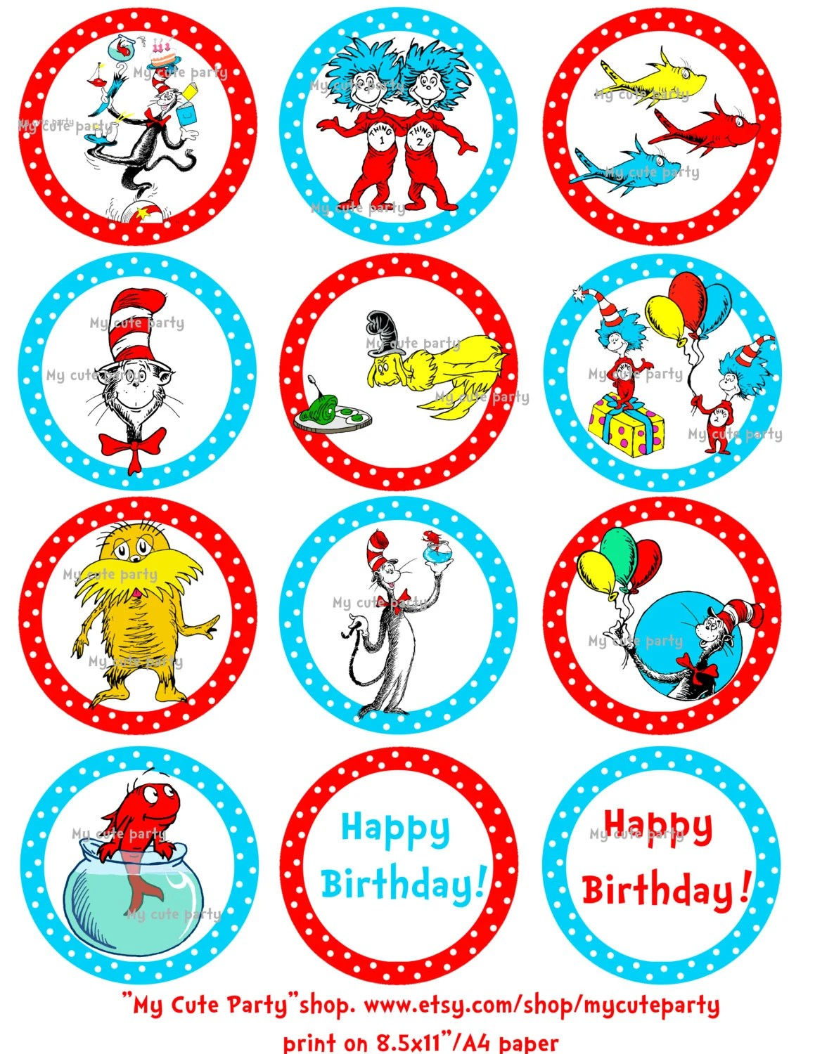 Dr Seussthing 1 Thing 2dr Seuss Cupcake By Mycuteparty On Etsy