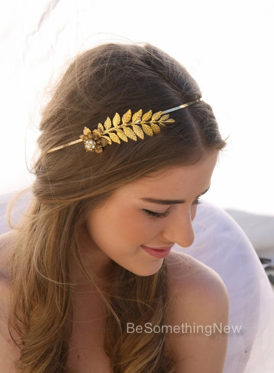 Grecian Gold Metal Leaf And Flower Headband With Rhinestones