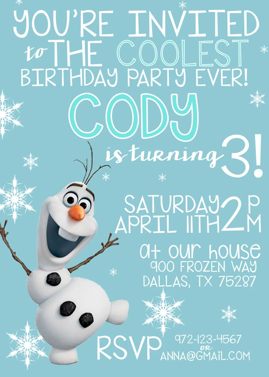 Printable Olaf Invitations