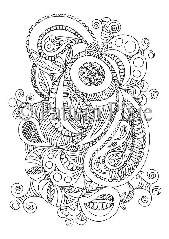 adult colouring page paisley doodle