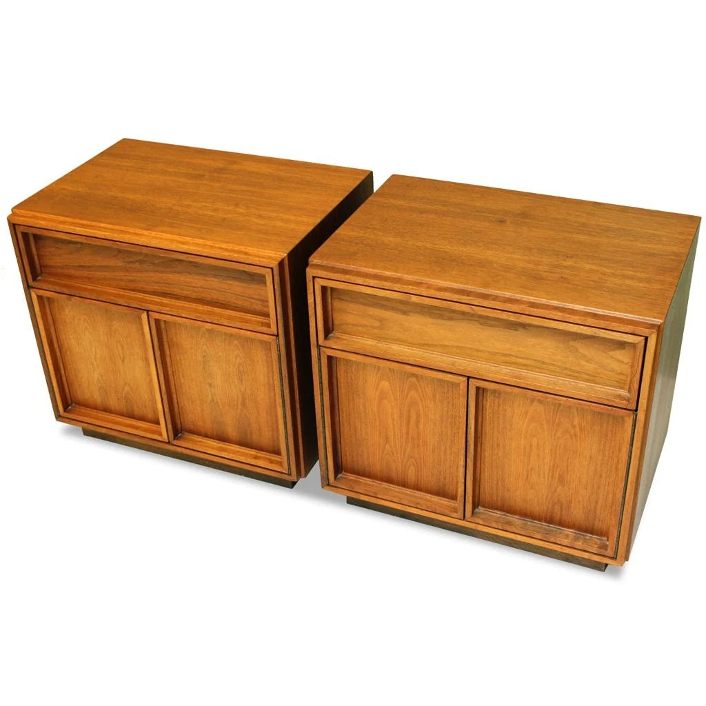 Pair Of Walnut Nightstands Deisgned By John Keal For Brown