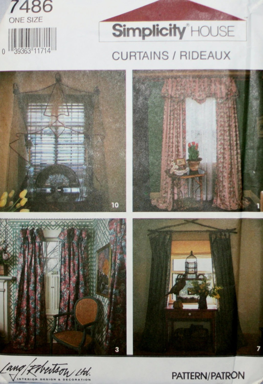 Simplicity D Ry Valance Curtains Sewing Pattern New